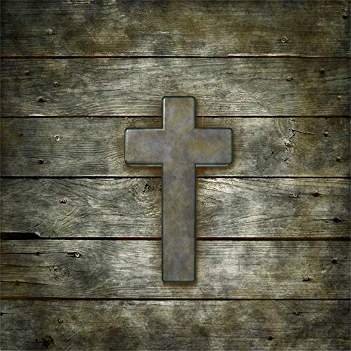 6x6ft Cross on Old Wooden Board Background Jesus Christ Wood Symbol Christian Crucifix on Shabby Brown Wood Plank Backdrop Christianity Easter Church Decoration Photo Shoot Props Vinyl
