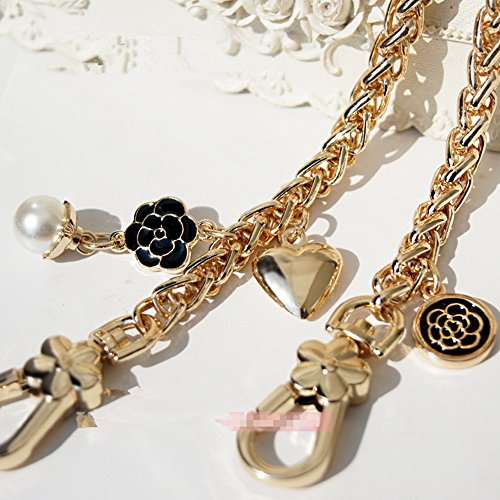 Diameter 8mm Metal Golden Chain For Replacement Purse Strap / Handle DIY ( Black Camellia and Pearl Peach Charms ) (55 inch)
