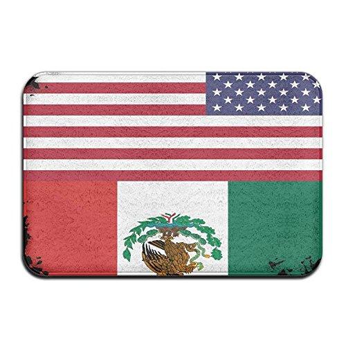 nuohaoshangmao Mexican American Flag Non-slip Indoor/Outdoor Floor Mat For Health And Wellness Kitchen Hallway Bath Office Bathroom Doormat 23.6''x 15.7'' by nuohaoshangmao