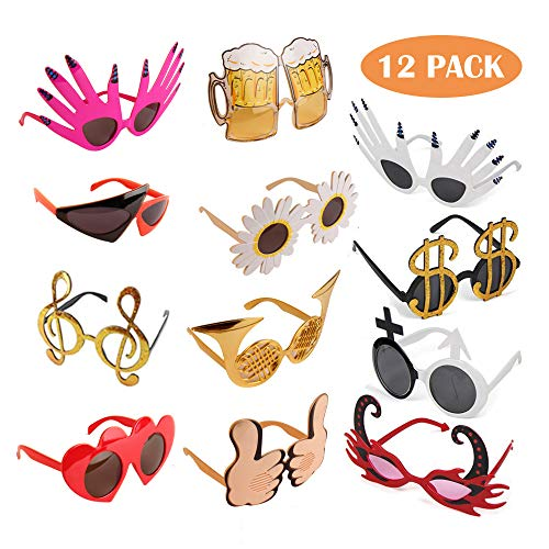 TD.IVES Funny Glasses Party Sunglasses Costume Sunglasses,12 Pack Cool Shaped Funny Party Hats ()
