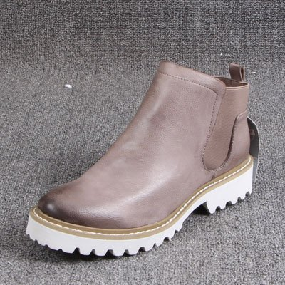 GAOLIM Stylish Boots Round Head Erase Color Material With Low Elastic Sleeve Ladies Boot Khaki MJ51OA