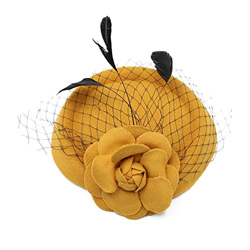 Funbase Girls Rose Flower Wool Top Cap Hat Lace Fascinator Hair Clip Accessory ()