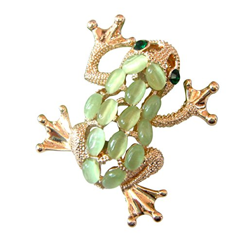 Navachi 18k Gold Plated Green Created-Opal Crystal Frog Az7796b Brooch Pins