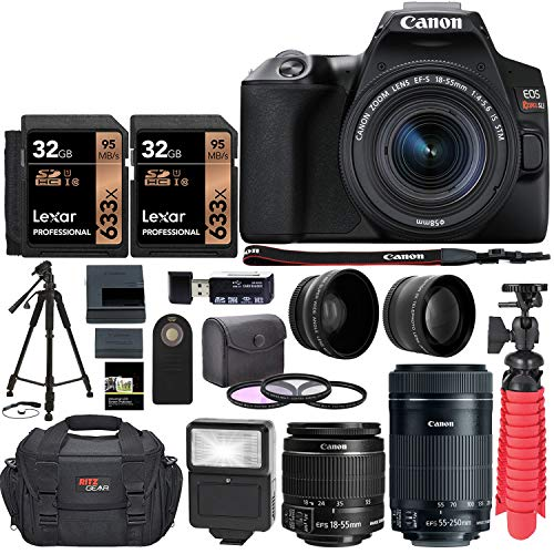 Canon EOS SL3 DSLR Camera with EF 55-250mm, Two Lexar 633x 32GB SDHC Memory Cards, Tripods, Camera Bag, and Accessory Bundle