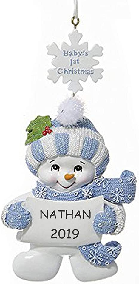 Baby Boy/'s 1st Christmas Snowman Ornament Keepsake Blue Baby/'s First Christmas