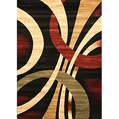 Feraghan/New City Brand New Contemporary Modern Wavy Circles Area Rug, 4' x 6', Black/Brown/Beige