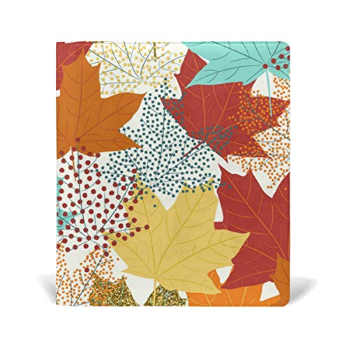 ColourLife Leather Book Covers for Textbooks Hardcovers Fall Maple Leaves School Books Protector 9 x 11 Inches