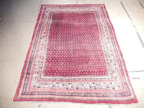 (100% Handmade 5' x 8' Semi-Antique Persian Mir Rug Pre-Owned Worn Repair)