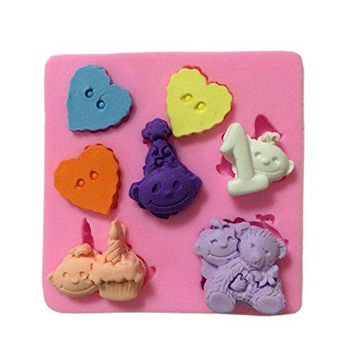 Yunko Love Button Clowns Heart Cupcake Decoration Fondant Gum Paste Silicone Mold