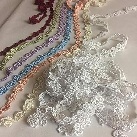 Multi-Use ex 5 Yards Choose Color Light Blue Garments Bridals Decorations Crafts Costumes Scrapbooks Trim Lace Floral 1//2 Wide Double Border Venise