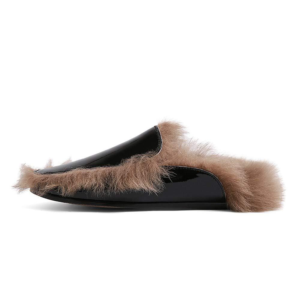 RJVCANERS Hausschuh Winter Behaarte Hausschuhe   Frauen   Mode   Tragen   Platz   Warme   Baotou   Flachboden   Wolle Schleppen