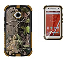 Moto E LTE 2ND GEN Case, XT1527/ XT1511/XT1505, Beyond Cell®[Dirtproof] High Impact Armor Hybrid Hard + Soft Rugged Durable Ultra Strong Phone Case with 3 Layer Maximum Protection & built in kickstand- Hunter Tree Camo -FREE Screen Protector
