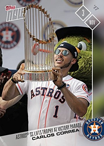 2017 Topps Now #OS-5 Carlos Correa Lifts World Series Trophy at Houston Astros Victory Parade Baseball Card - Only 479 made!