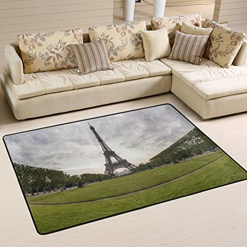 XiangHeFu Personalized Area Rugs Eiffel Tower Green Glass 3'x2' (36x24 Inches) Floor Doormats Mat Soft for Living Room Bedroom Home Kitchen Decorative