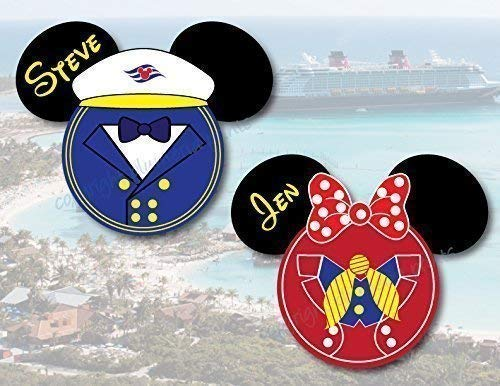 Nautical Captain Mickey and Minnie Mouse Head Magnets for Disney Cruise
