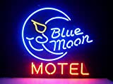 Blue Moon Motel Hotel Neon Sign 17''x14''Inches Bright Neon Light for Store Beer Bar Pub Garage Room