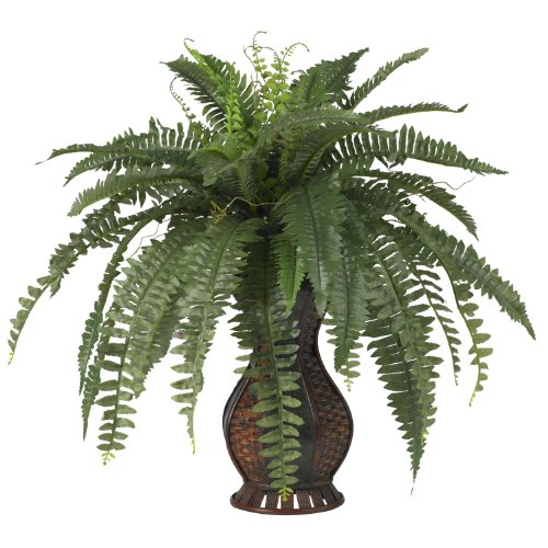 Nearly Natural 6629 Boston Fern with Urn Decorative Silk Plant, Green