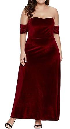 850add91bda6 BYWX Women Short Sleeve Off The Shoulder Plus Size Velvet Evening Prom  Party Maxi Dress Red