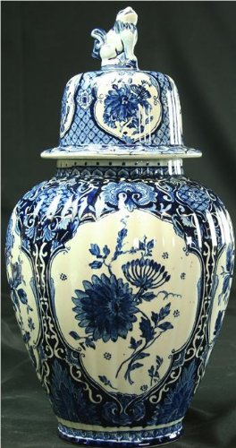 Vintage Blue Delft Vase Ginger Jar Bluewhitecream Floral