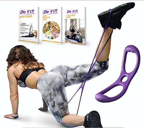 DeFiT Booty Band & Resistance Bands - Butt Workout Band - Set of Exercise Bands with Butt Band Belt, Unique iOS/Android App, Video Guide, eBooks, Nutrition Guide (Booty Band Pink and Purple) (Booty Lifter Workout)