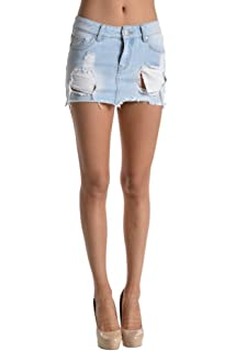 51a8a6b3e1 Yeokou Women's Casual Slim A-line Pleated Ruffle Short Mini Denim ...