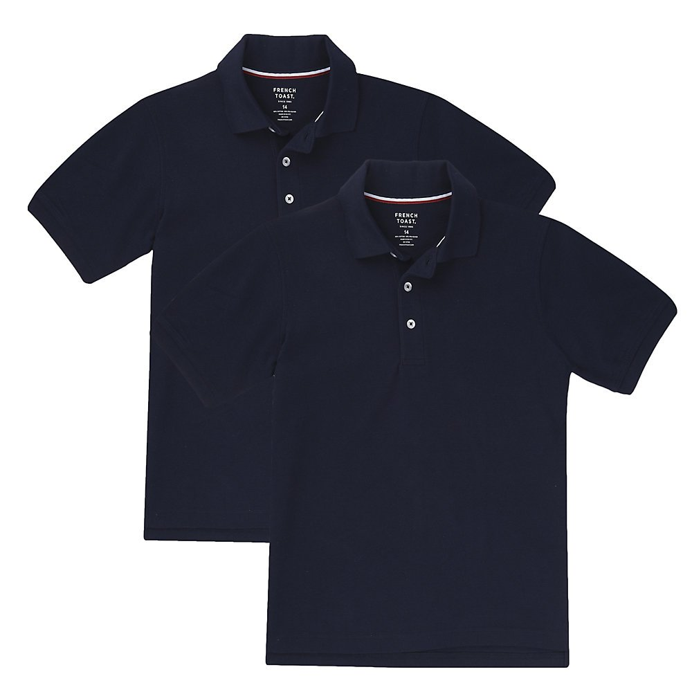 French Toast Big Boys' Short Sleeve Pique Polo-2 Pack, Navy, XL (14/16)