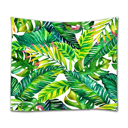 Goodbath Banana Leaf Tapestry Wall Hanging, Tropical Palm Leaves Design Wall Art for Kids Girls Boys Wall Decor for Bedroom Living Room Dorm, 80 W x 60 H Inch, Green White