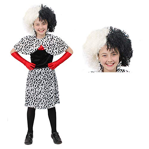 GIRLS EVIL DOG LADY DALMATIAN PRINT FANCY DRESS COSTUME & WIG IDEAL FOR...