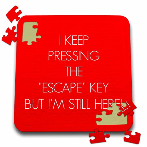 3dRose Xander funny quotes - I keep pressing the escape key but Im still here, white letters on red - 10x10 Inch Puzzle (pzl_253953_2)