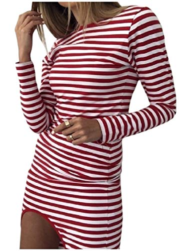 Coolred-femmes Manches Longues Irrégulières Silm Sexy Robes Stretch Une Étape Rouge