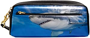 Great White Shark Carcharodon Carcharias Underwater at Guadalupe Island Mexico Pouch Case Women Makeup PU Leather Cosmetic Bags Kids School Portable Stationary Pencil Bag