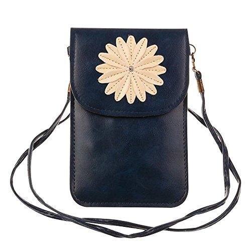Happy Hours - Portable Flower Pattern Cellphone Shoulder Messenger Bag Case / Premium Mini Universal Crossbody Pouch Wallet for iPhone Samsung Galaxy and Other Mobile Phone under 5.5