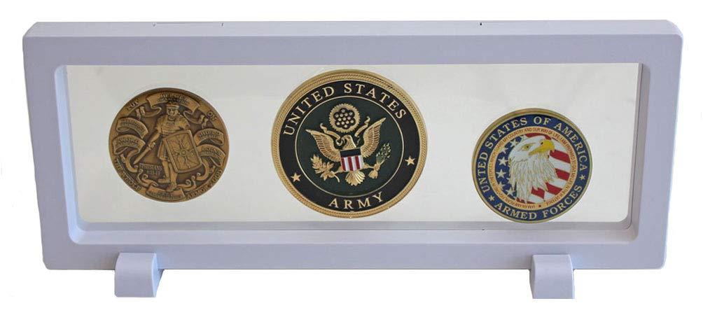 万能表示フレームケーススタンドfor Challenge Coin、Medals、カジノチップ表示ケース – ホワイトcn15 B074V11H93