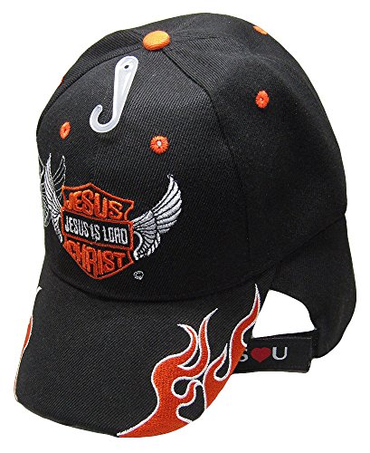 Flame Embroidered Visor - K's Novelties Jesus is Lord Biker Style Christian Flame Black Embroidered Cap Hat 821B