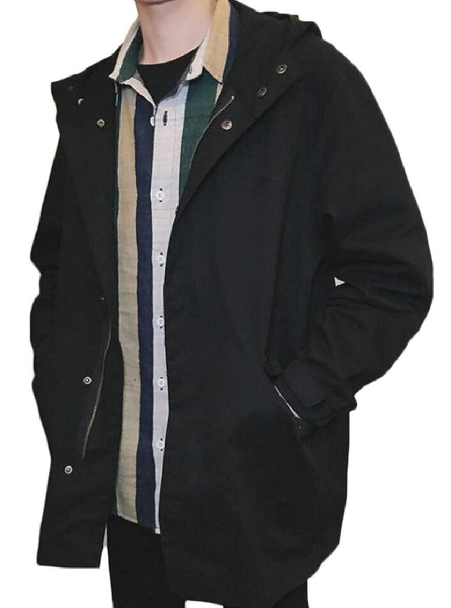Black Tymhgt-CA Mens Windproof Outwear Hood Big Tall Tall Tall Loose Overcoat Trench Coat 266ff6
