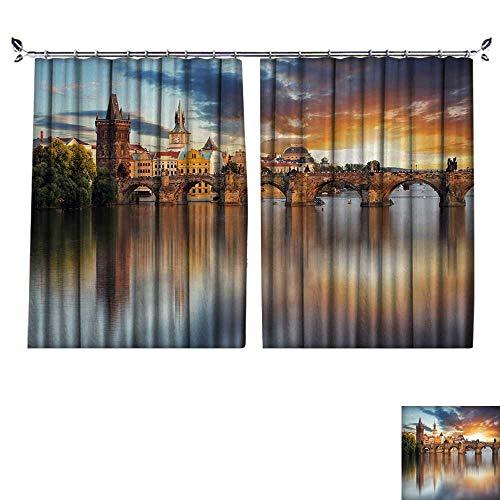 DESPKON Environmental Protection Material Polyester Prague Charles Bridge,Czech Republic for Living Room Window,Sun Insulation. W96 x L108