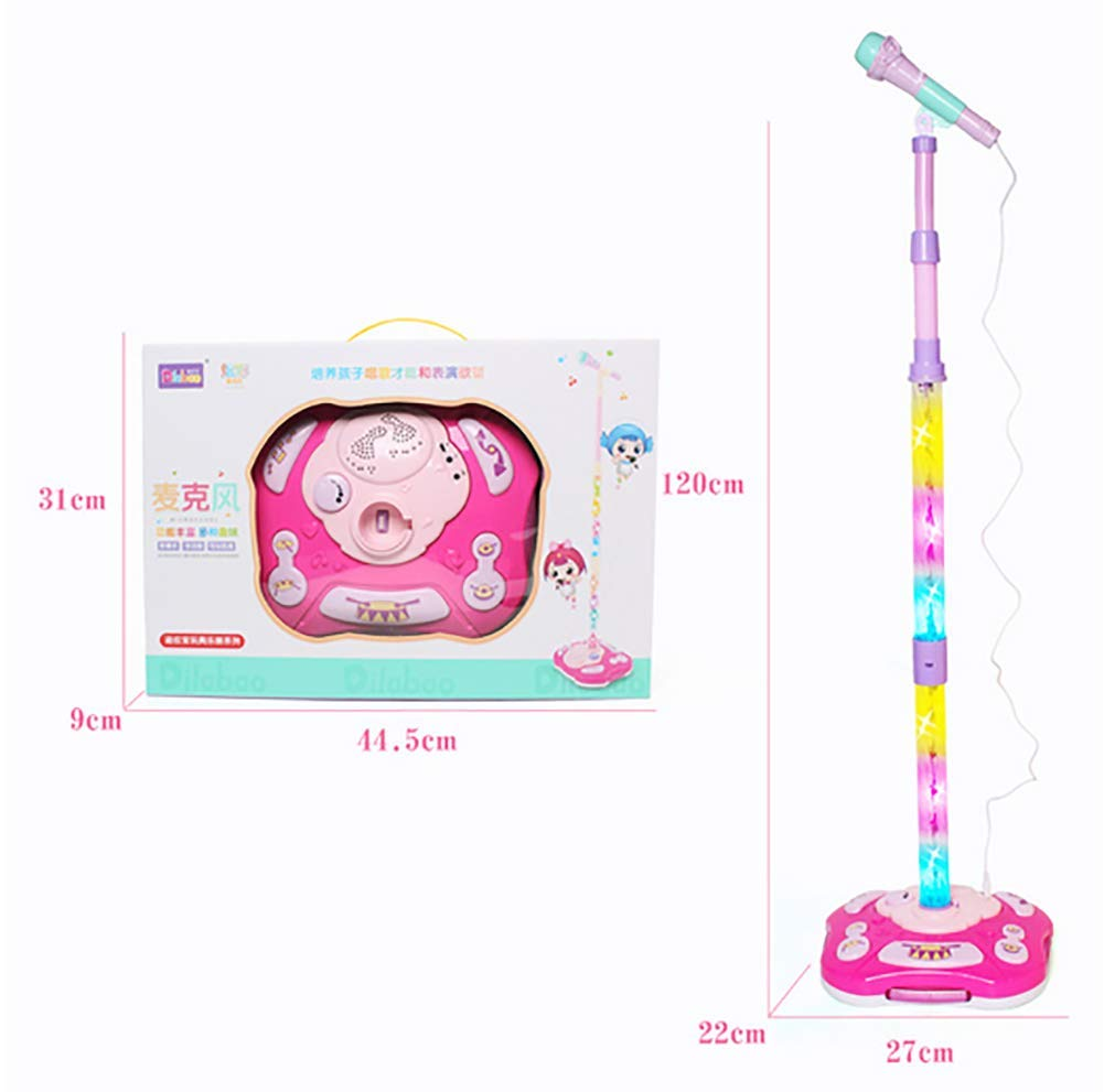 GHDE& Kids Karaoke Machine Microphone Toy with Adjustable Stand & Flashing Lights/USB Charging/Best Gift for Your Kids on Birthday (Pink) by GHDE& (Image #7)