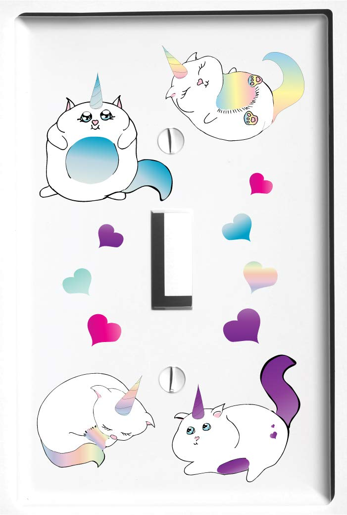 Single Rocker Caticorn Light Switch Plate and Outlet Covers Cat Unicorn Childrens Room Nursery Decor