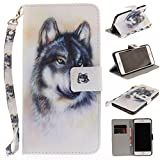 Misteem Case for iPhone 6 Plus/ 6S Plus Animal, Cartoon Anime Comic Leather Case Wallet with Bookstyle Magnetic Closure Card Slot Holder Flip Cover Shockproof Slim Creative Pattern Shell Protective Cover for Apple iPhone 6S Plus/ 6 Plus 5.5 inch [White Wolf]