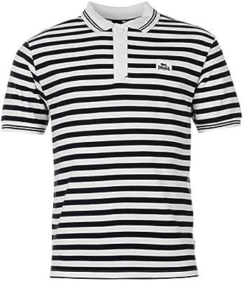 Lonsdale – Yarn Dye Polo de rayas camisa para hombre blanco/azul ...