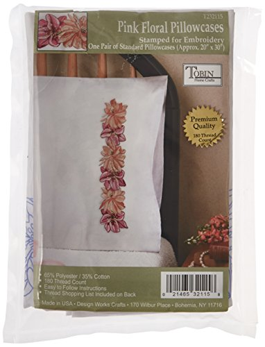 Tobin Stamped Pillowcase Pair Stamped Cross Stitch Kit for Embroidery, 20 by 30-Inch, Pink Floral