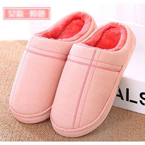 Winter Innen-Hausschuhe Boden Hausschuhe Familie Rutschfeste Breathable Baumwolle Warm Hausschuhe Schuhe-Pink01