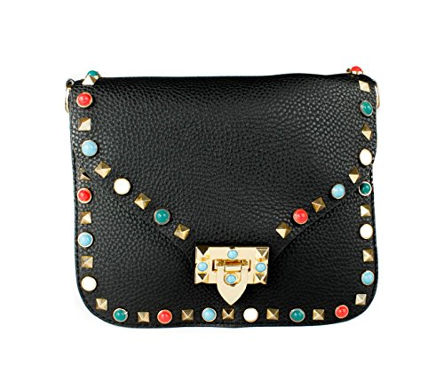 Studded Black Women Bag Handbag Gems Cross Multicolours Small Shoulder For body C4qP5nw
