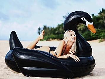 Floatie Kings Cisne Negro Flotador de Piscina - Inflable Gigante: Amazon.es: Juguetes y juegos