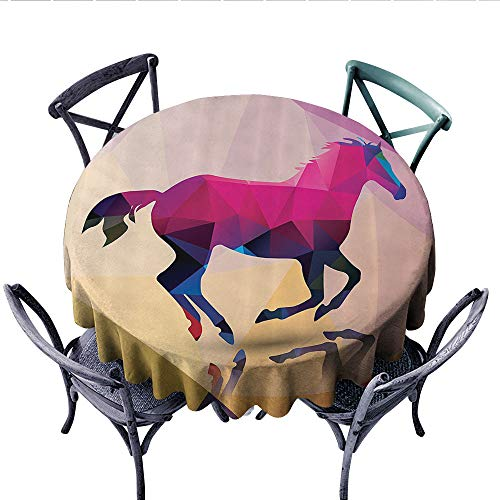 (Geometric Decor Printed Circle Tablecloth Shaded Geometric Abstract Horse Pattern Indie Novelty Symbol Print Home Decor Stain Resistant Wrinkle Tablecloth (Round, 50 Inch, Cream Pink Purple))