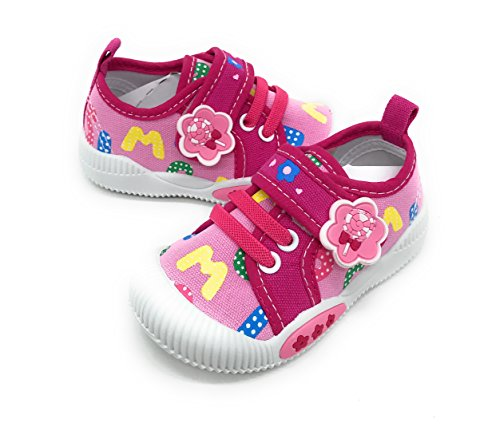 EASY21 Baby Toddler Girl Lacy Velcro Fashion Sneakers,Pink55,Size 3
