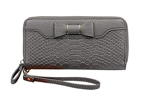 - SELECTIA Purses for Women Wallet Luxury Beautiful Pretty Gorgeous Wallet Genuine Leather Zip Around Zipper Long Purse Credit Card Cash Holder Clutch Handbag with Strap Cute Bow 26 (Dark Gray)