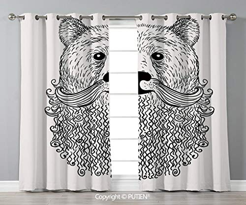 Grommet Blackout Window Curtains Drapes [ Indie,Doodle Style Sketch Bear Portrait with Curly Beard and Mustache Cute Cool Animal Decorative,Black White ] for Living Room Bedroom Dorm Room Classroom Ki -