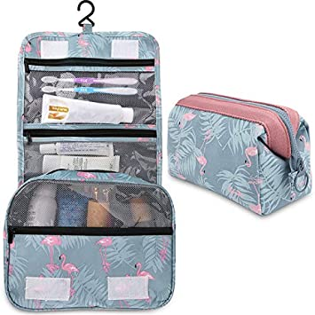 6d3d942448f8 2 Pieces Toiletry Bag Multifunction Hanging Cosmetic Bag Portable Organizer  Makeup Bags Pouch Large...