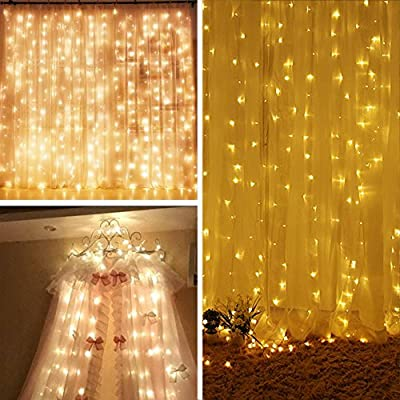 AOLVO Battery Operated 300 LED Curtain String Lights, 9.8 X 9.8ft Starry Fairy Decorative String Lights for Christmas, Wedding, Bedroom, Bed Canopy, Garden, Patio, Outdoor Indoor Wall Decor